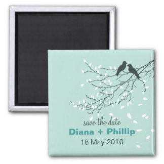 Lovebirds Save the Date Magnet in Light Blue