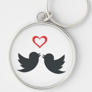 LOVEBIRDS Silver-Colored ROUND KEY RING
