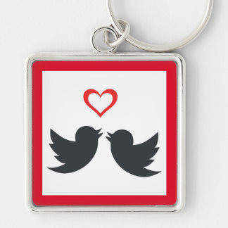 LOVEBIRDS Silver-Colored SQUARE KEY RING