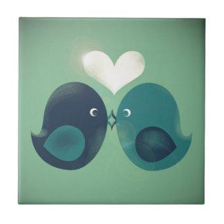 Lovebirds Small Square Tile