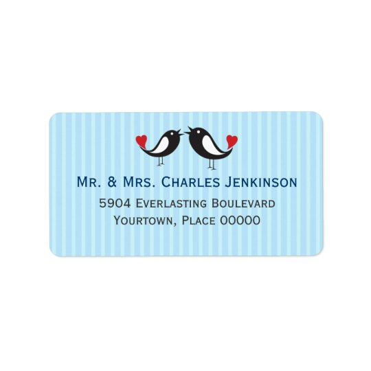 Lovebirds Striped Blue Address Label