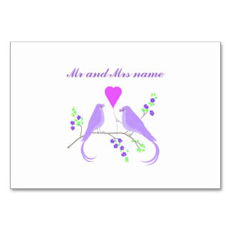 Lovebirds Tablecards add guests names Table Card