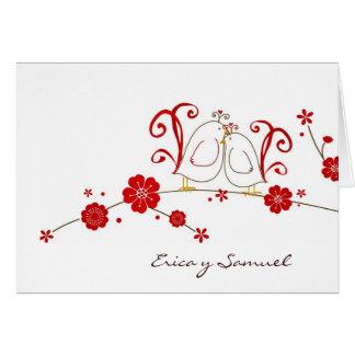 Lovebirds Thank You Cards / Tarjetas de Enamorados