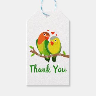 Lovebirds Thank You Green & Yellow Wedding Birds Gift Tags