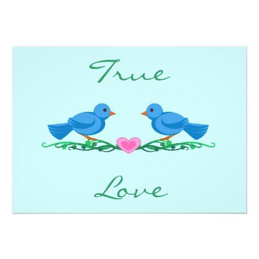 """Lovebirds """"True Love"""" Wedding Invitations"""
