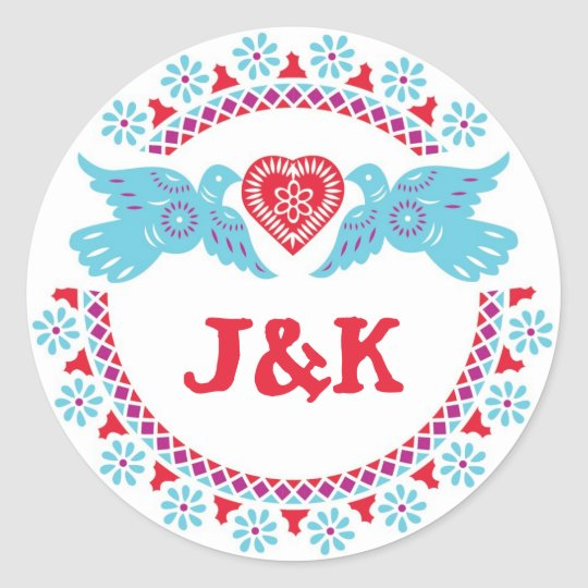 Lovebirds turquoise and red round sticker