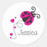 Lovebug ladybug pink white name sticker