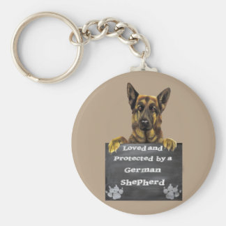 Loved and Protected by a German Shepherd Key Ring