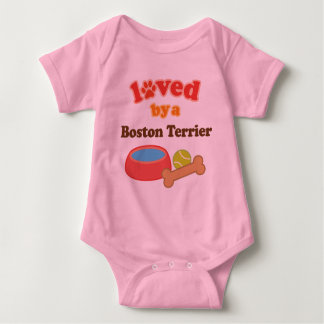 Loved By A Boston Terrier (Dog Breed) Baby Bodysuit