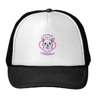 LOVED BY A CHIHUAHUA TRUCKER HATS