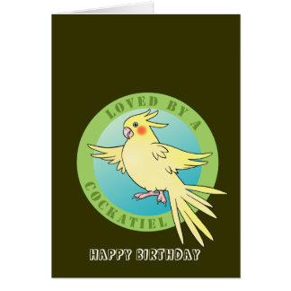 Loved by a Cockatiel Bird Birthday Card