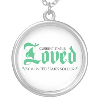 Loved by a US Soldier Round Pendant Necklace
