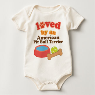 Loved By An American Pit Bull Terrier (Dog Breed) Baby Bodysuits