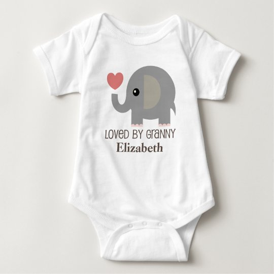 Loved By Granny Personalised Elephant Baby T-shirt