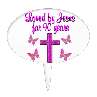 LOVED BY JESUS FOR 90 YEARS CAKE TOPPERS