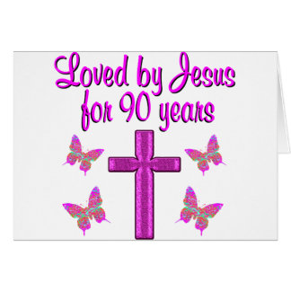 LOVED BY JESUS FOR 90 YEARS NOTE CARD