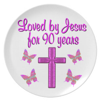 LOVED BY JESUS FOR 90 YEARS DINNER PLATES