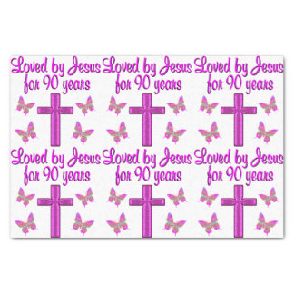 "LOVED BY JESUS FOR 90 YEARS 10"" X 15"" TISSUE PAPER"