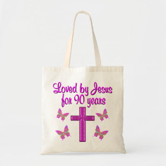 LOVED BY JESUS FOR 90 YEARS BUDGET TOTE BAG