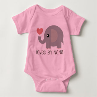 Loved By Nana Heart Elephant Baby Bodysuit
