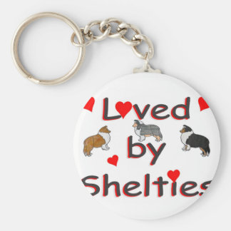 Loved by shelties basic round button key ring