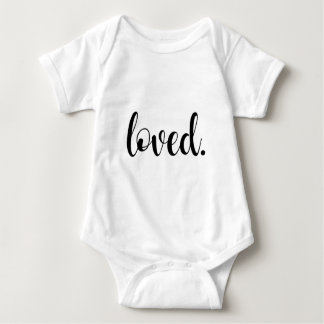 Loved. Modern Trendy Script Typography Type Baby Bodysuit
