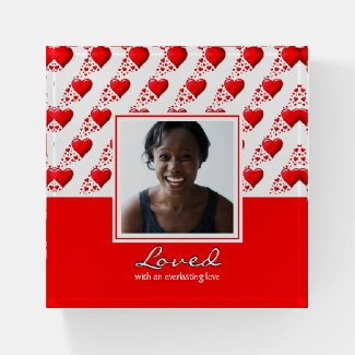LOVED Personalized Photo RED HEARTS Keepsake Paperweight