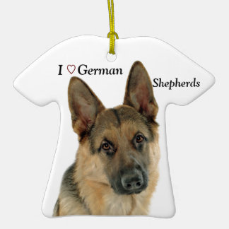 Loved & Protected by a German Shepherd Double-Sided T-Shirt Ceramic Christmas Ornament