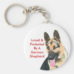 Loved & Protected By A German Shepherd Basic Round Button Key Ring