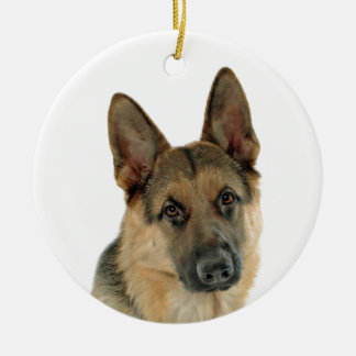 Loved & Protected by a German Shepherd Round Ceramic Decoration