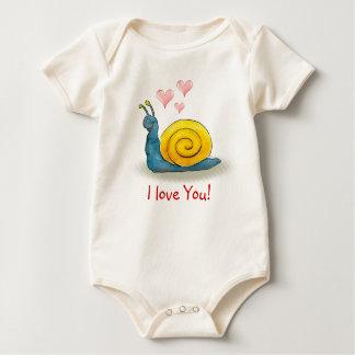 Loved snail with big heart | Adorable Animal Baby Bodysuit