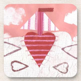 Loveheart Boat Cork Coasters