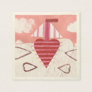 Loveheart Boat Ecru Napkins Disposable Serviette
