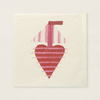 Loveheart Boat No Background Ecru Napkins Disposable Napkin