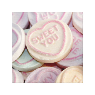 Loveheart sweets photograph canvas canvas print