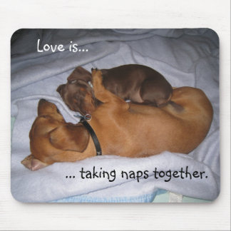 loveis, Love is..., ... taking naps together. Mouse Mat