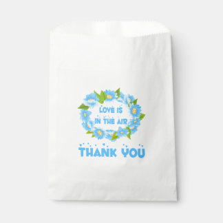 Lovel Watercolor Blue Turquoise Thank You Flower Favour Bags