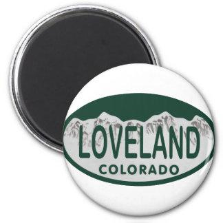 Loveland license oval 6 cm round magnet