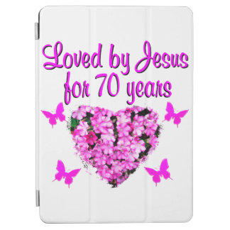 LOVELY 70TH BIRTHDAY PINK FLORAL PHOTO DESIGN iPad AIR COVER