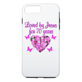 LOVELY 70TH BIRTHDAY PINK FLORAL PHOTO DESIGN iPhone 7 PLUS CASE