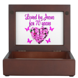 LOVELY 70TH BIRTHDAY PINK FLORAL PHOTO DESIGN KEEPSAKE BOX