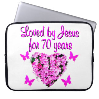 LOVELY 70TH BIRTHDAY PINK FLORAL PHOTO DESIGN LAPTOP SLEEVES