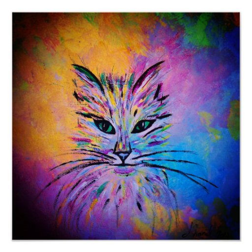 Lovely Abstract Cat Portrait, colourful Poster