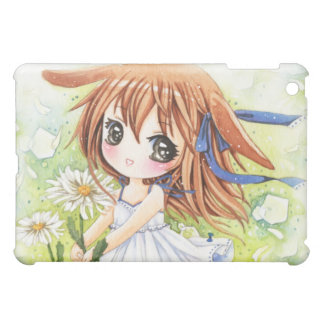 Lovely anime girl with daisy iPad mini cases