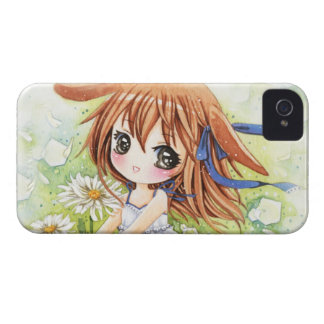 Lovely anime girl with daisy iPhone 4 Case-Mate cases