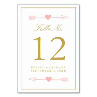 Lovely Arrows Table Number Card / Blush & Gold