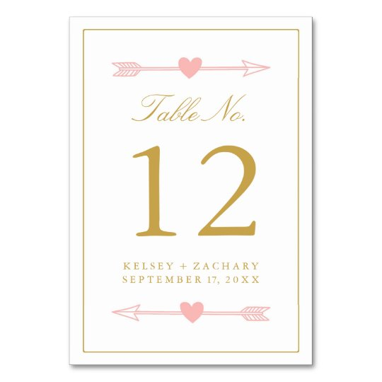 Lovely Arrows Table Number Card / Blush &
