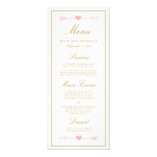 Lovely Arrows Wedding Dinner Menu / Blush & Gold Card