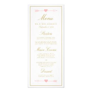 Lovely Arrows Wedding Dinner Menu / Blush & Gold Card