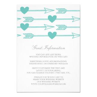 Lovely Arrows Wedding Insert Card / Teal & Gray 11 Cm X 16 Cm Invitation Card